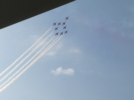 British Red Arrows in formation (there are nine of them)