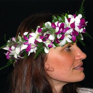 Fresh Dendrobium Orchid Haku Headband Aloha Hawaiian Flowers
