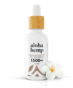Hawaiian Roots 1500mg - White bottle - transparent with flower
