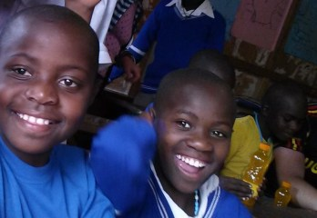 two children sponsored for primary education