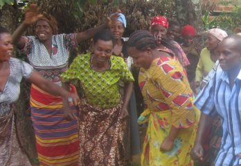 Victory Dance by women after securing a loan