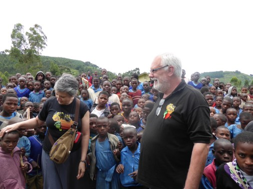 Lawrance and Monica at a school in Uganda
