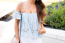 A Lo Profile: Ice blue lace top paired with white distressed denim jeans, nude wedges, and neutral accessories for a perfect Spring or Summer look.