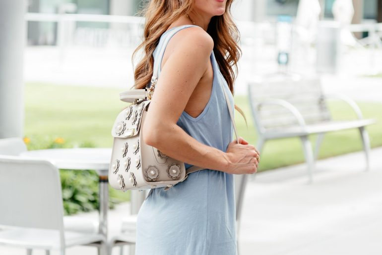 Easy Summer Look: Tshirt Dress & Backpack with flat statement sandals via A Lo Profile.