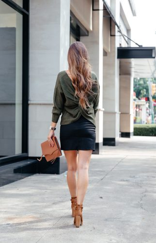 open back sweaters, back detail sweaters for fall, sweater and skirt