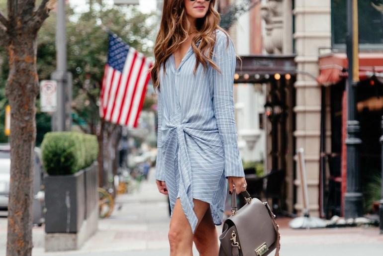 Shirt Dress & Booties for Fall via A Lo Profile