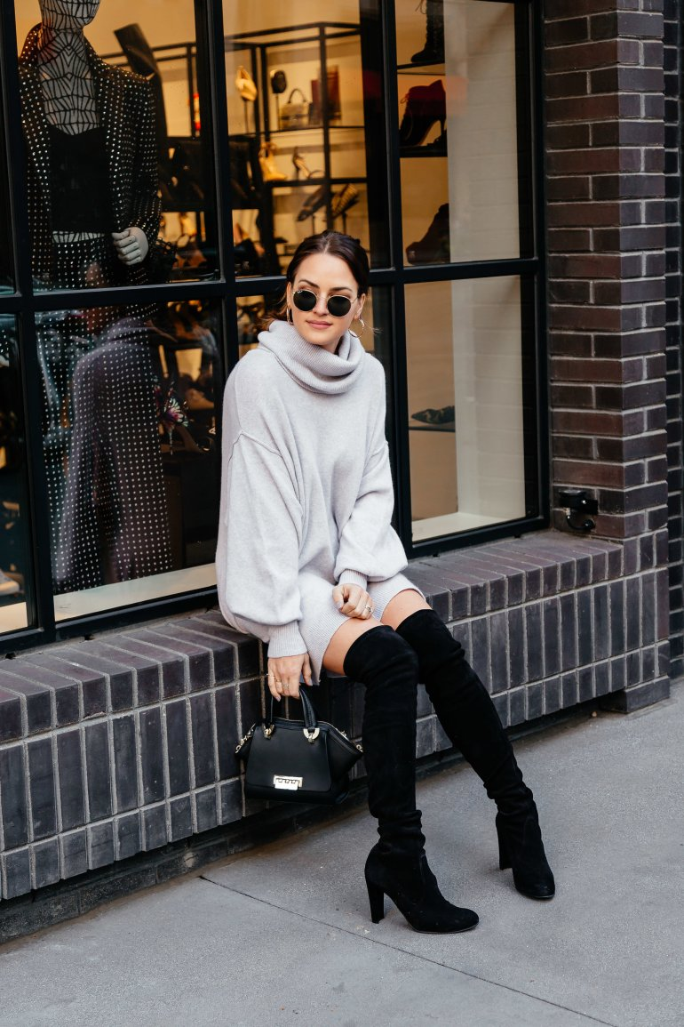 Oversized and Over the Knee: Dallas blogger sharing a winter look that is perfect for January, cozy, effortless, and one that you'll wear again and again.