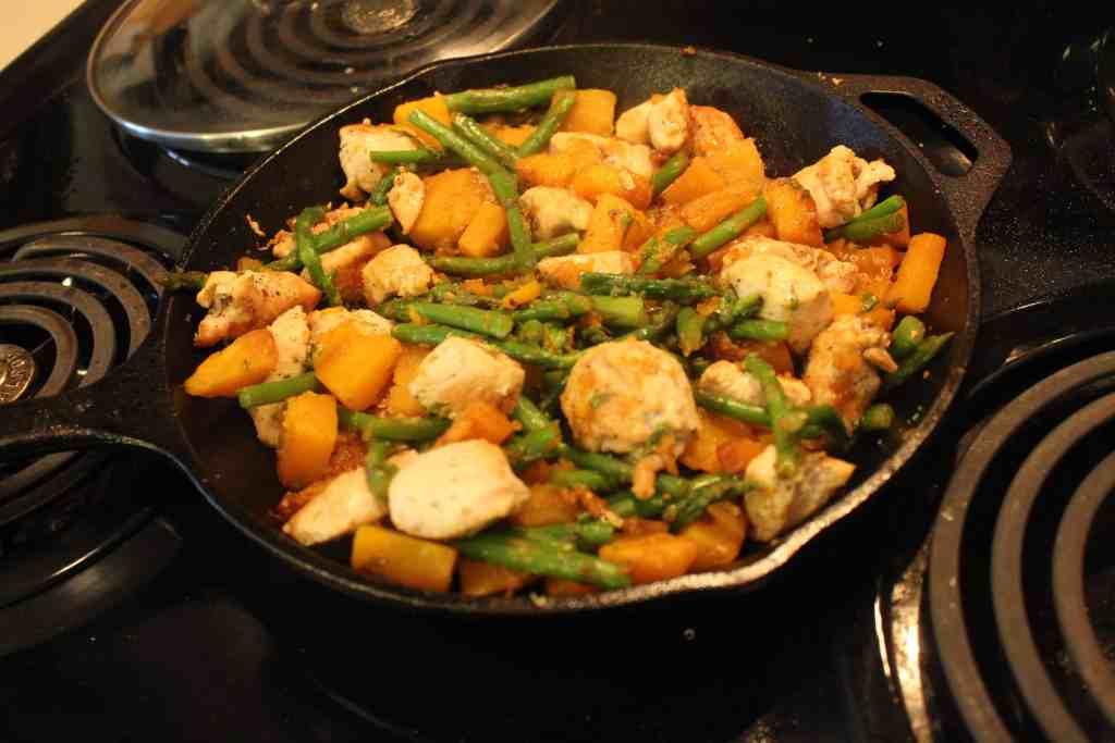 chicken asparagus squash skillet