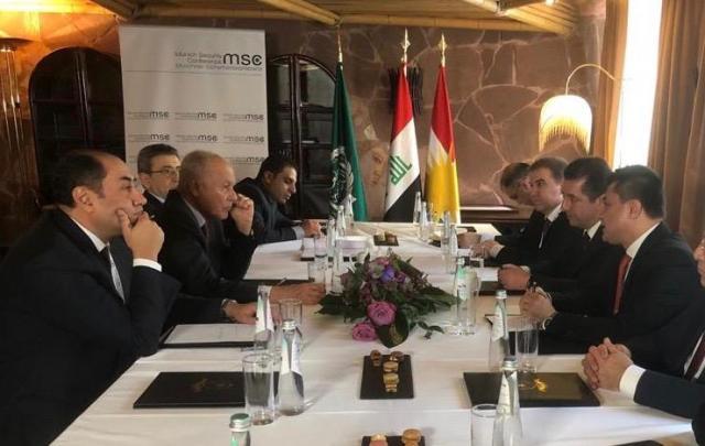 أبو الغيط يلتقي رئيس وزراء إقليم كردستان العراق