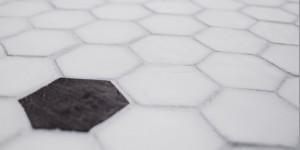 Hexagon Milk Glass Detail