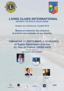 Messe en mémoire des victimes / Lions club international