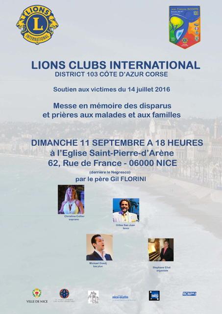 Messe en mémoire des victimes / Lions club international