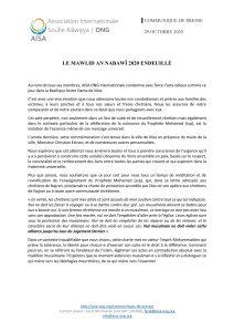 Communiqué Association Internationale Soufie Alâwiyya