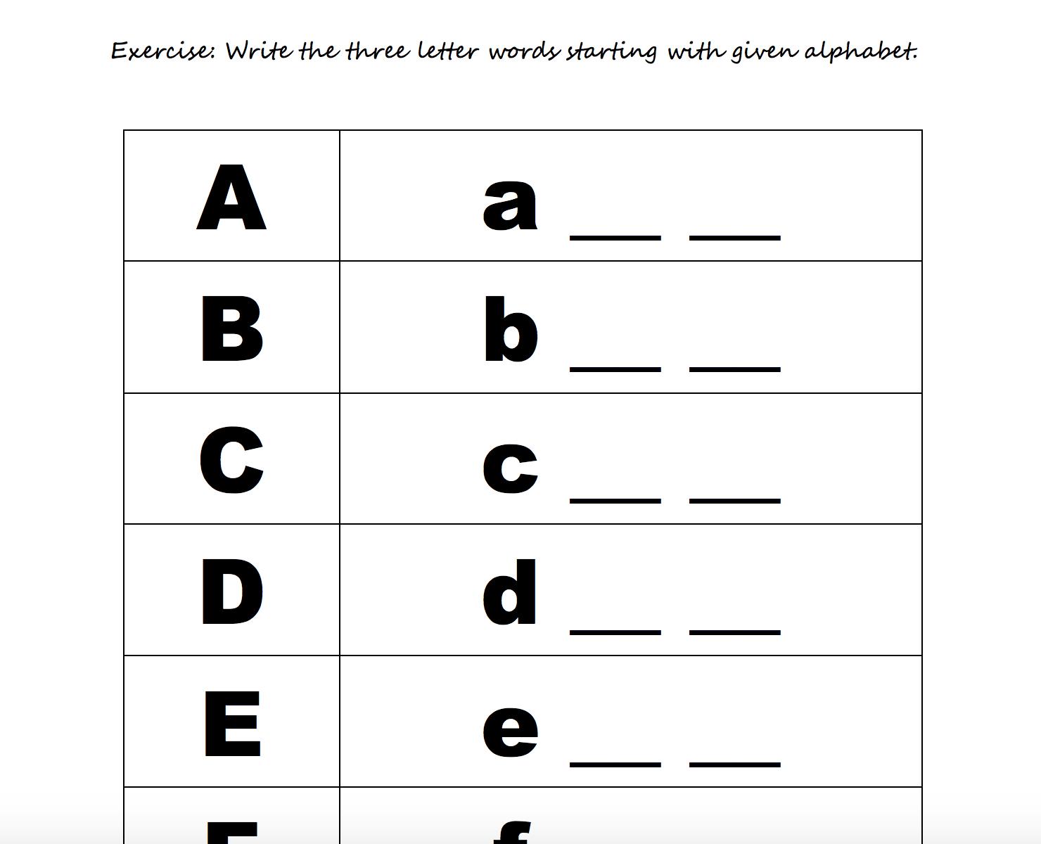 The Alphabet Worksheets Esl