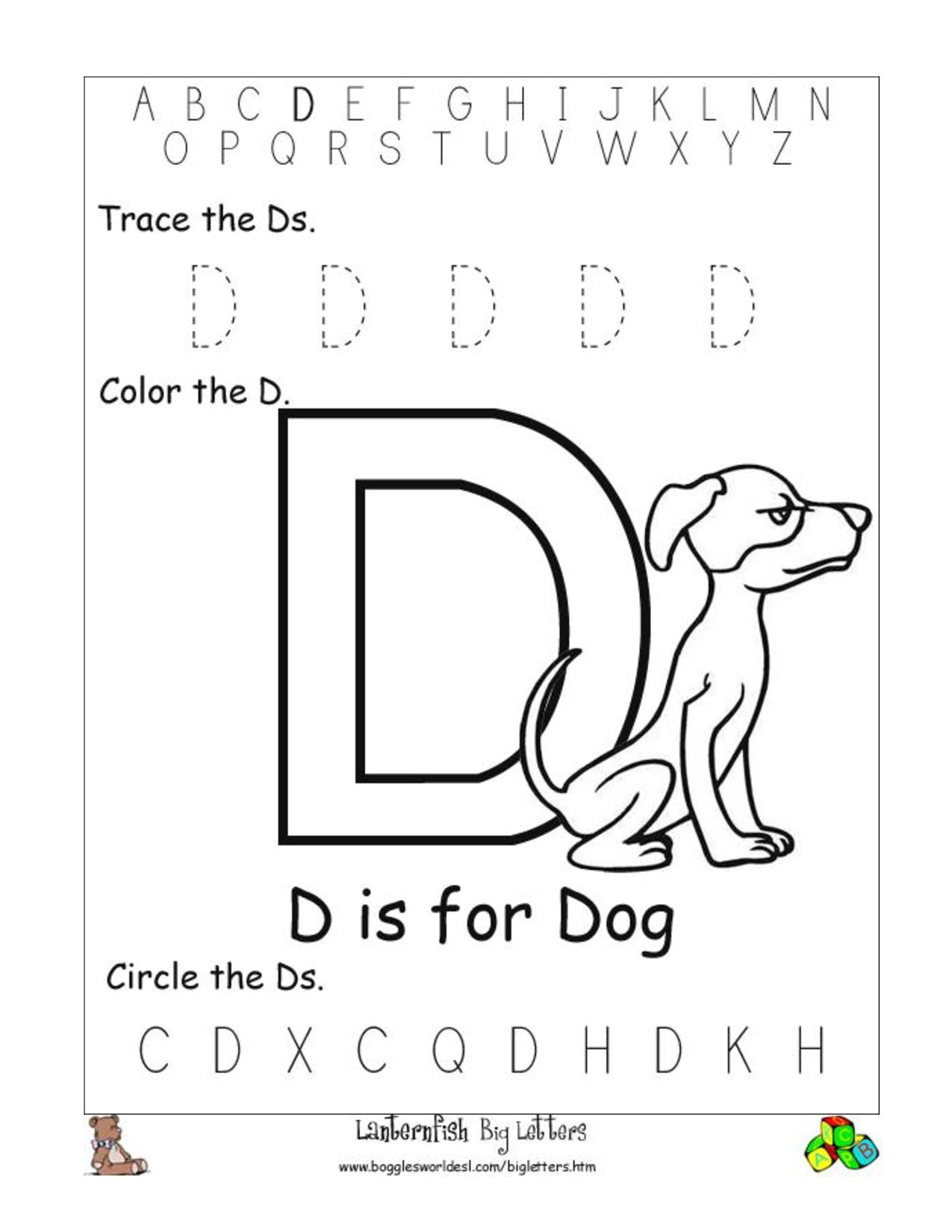 Letter D Worksheets Free