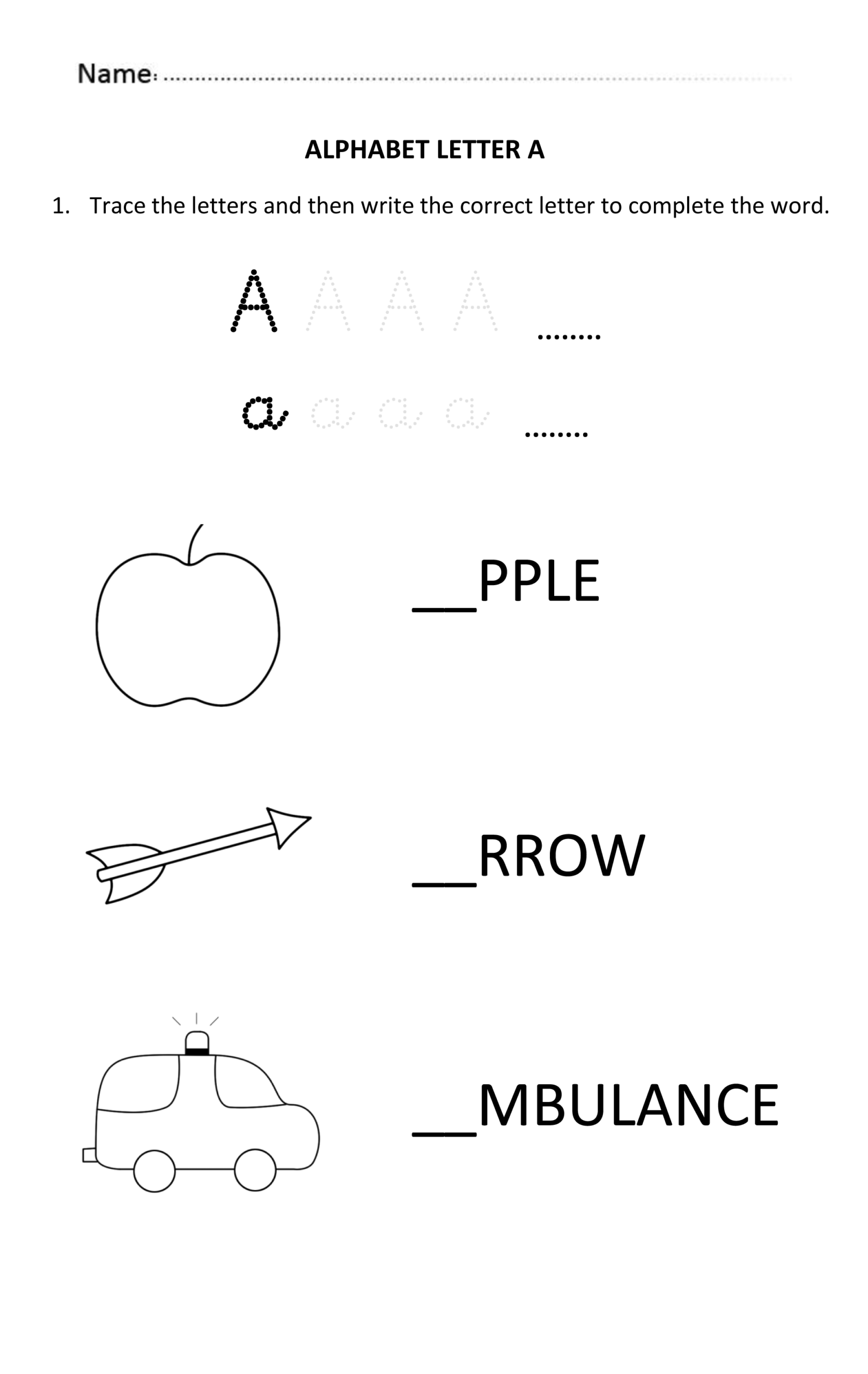 Alphabet Worksheets For 5 Year Olds