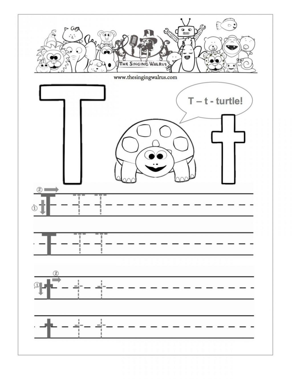 Letter T Worksheets Handwriting