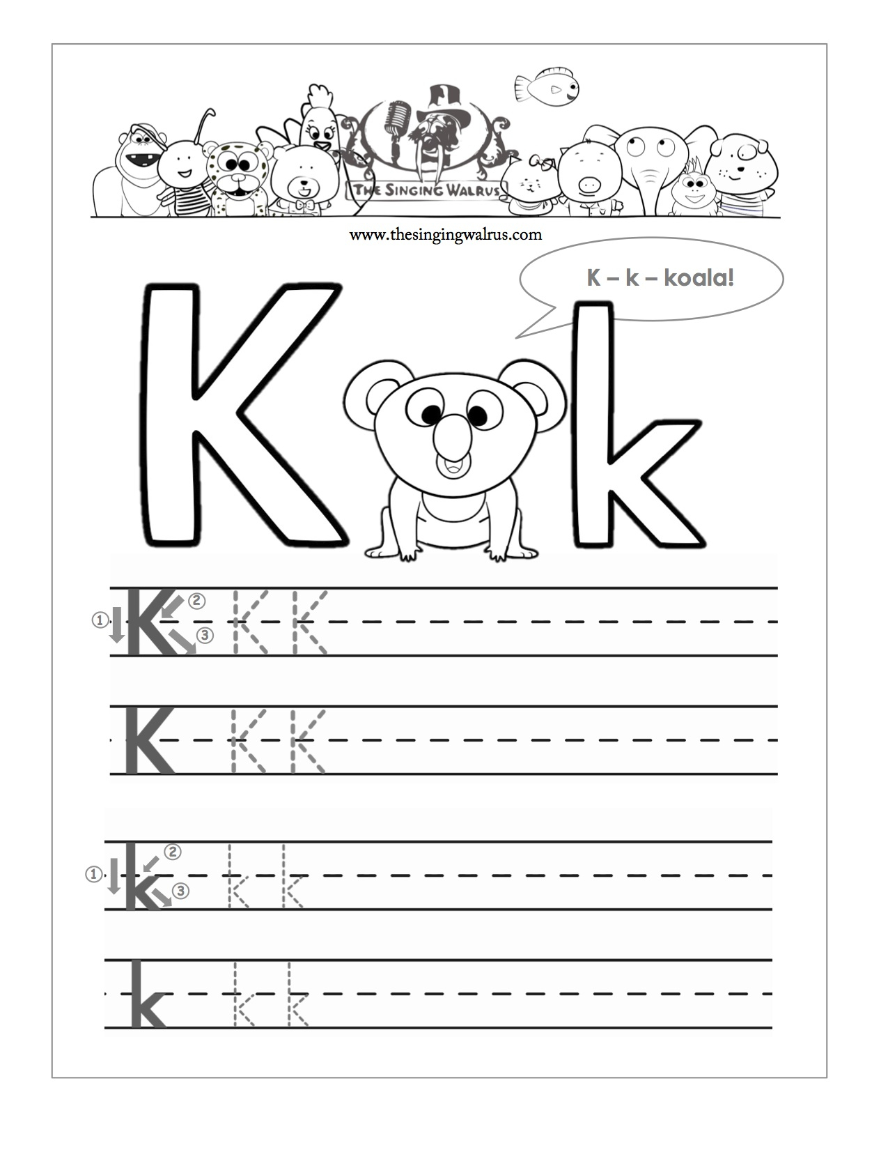 Letter K Worksheets Twisty Noodle