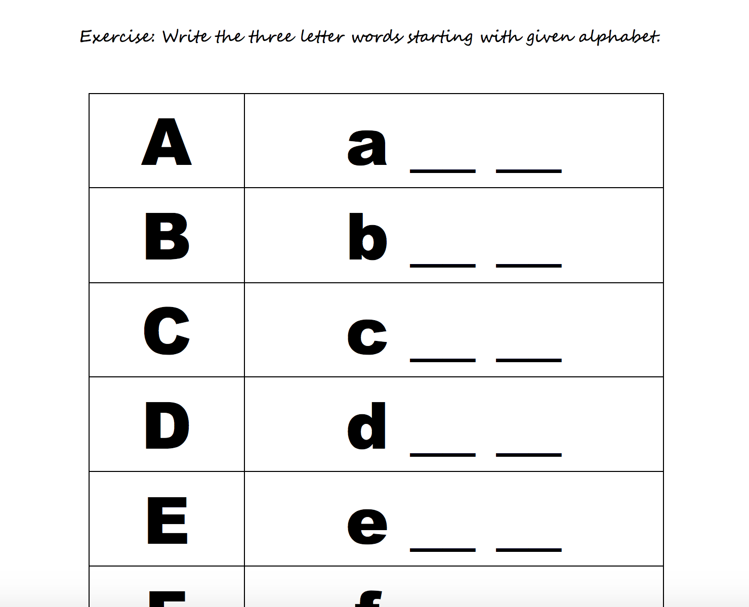 Alphabet Exercises Elementary