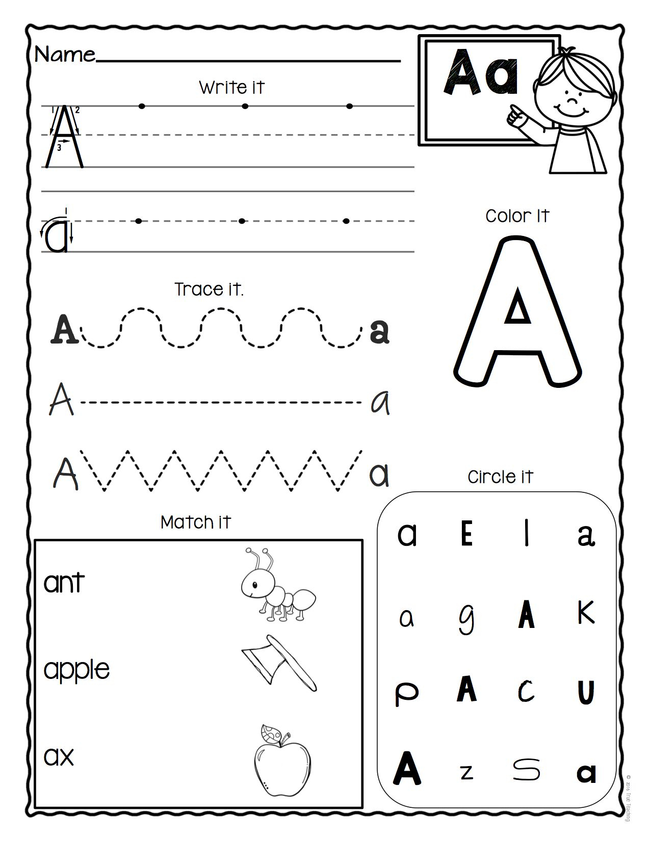 Pre K Alphabet Review Worksheets