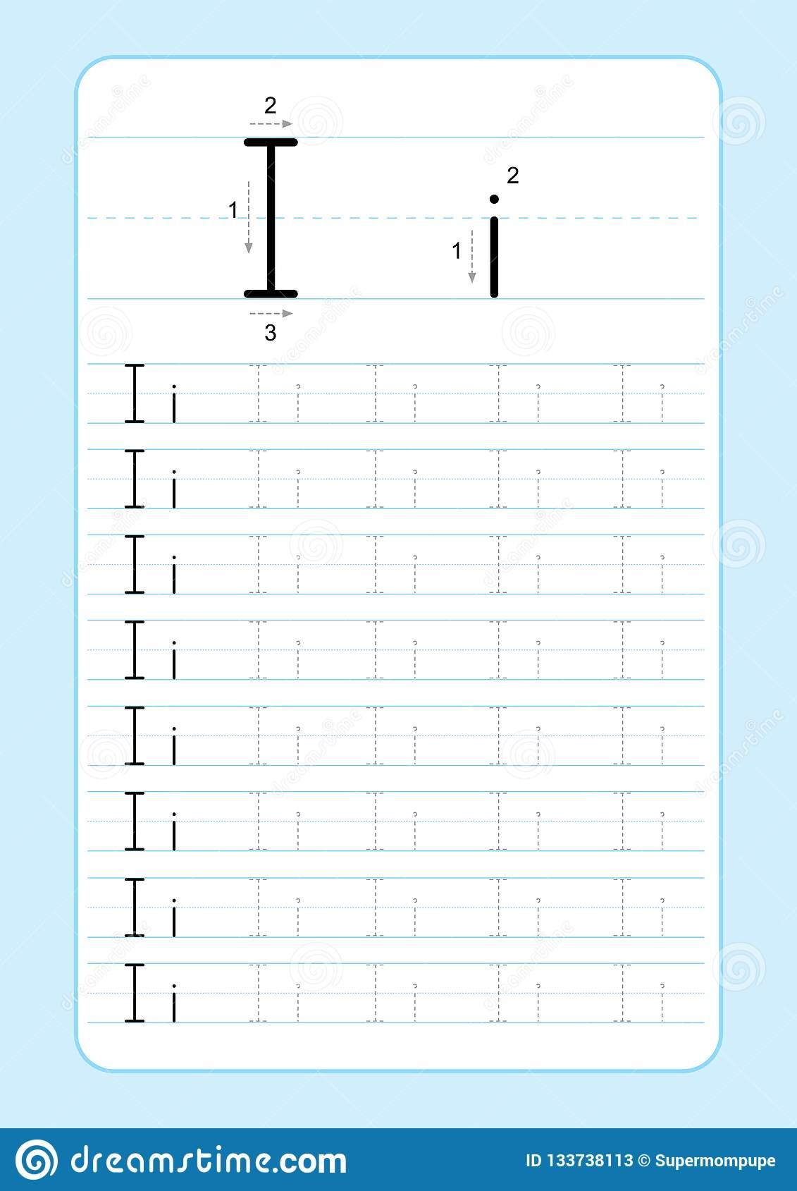 I Letter Tracing Worksheet