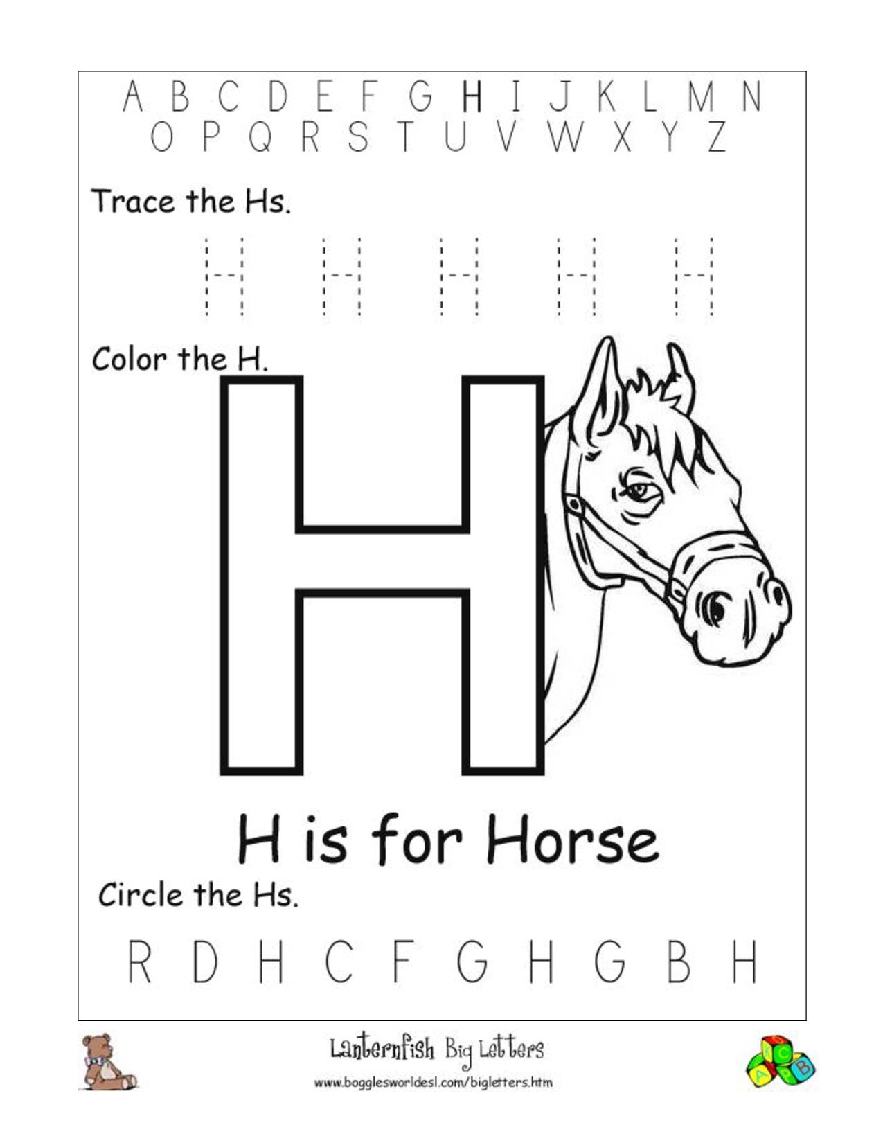 Letter H Worksheets For Pre K