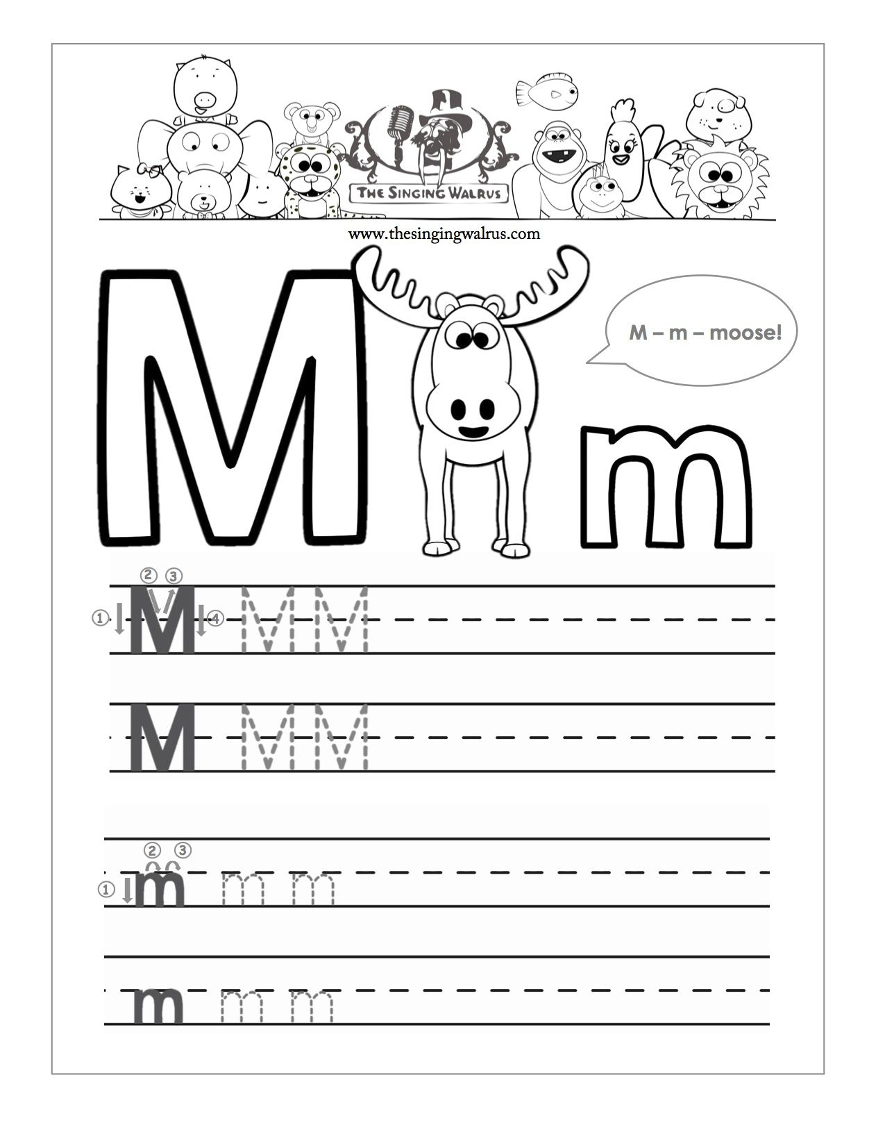 Letter M Tracing Worksheets Preschool