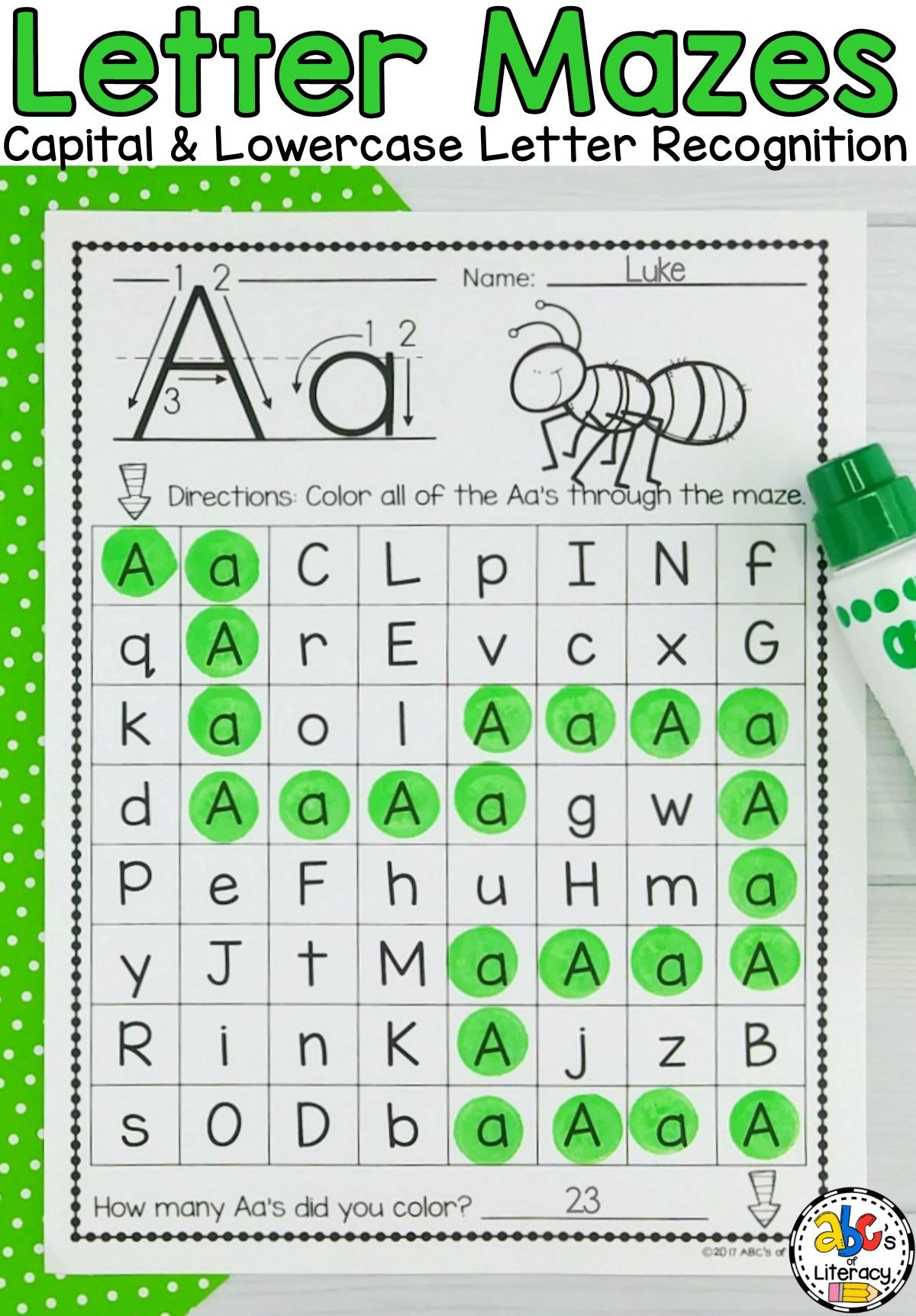 Alphabet Worksheets Maze