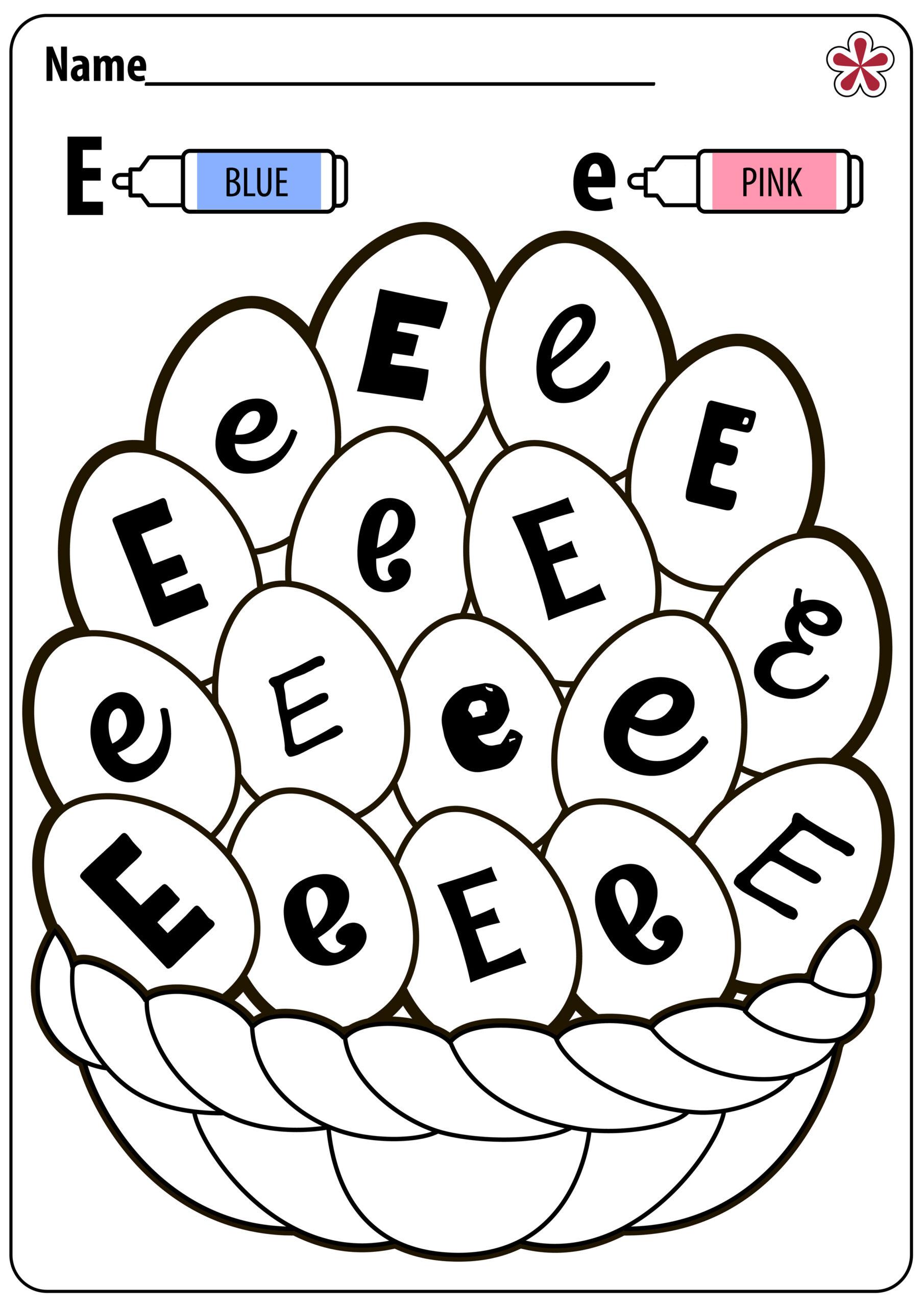 Letter E Worksheets Coloring