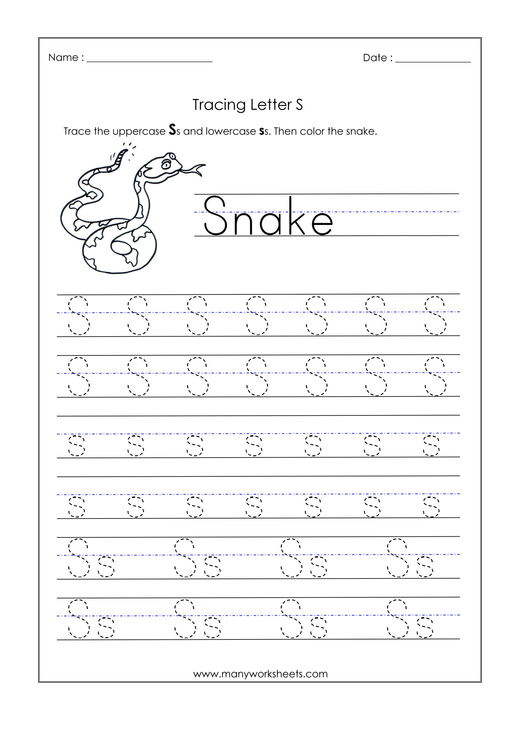 S Letter Tracing Worksheet