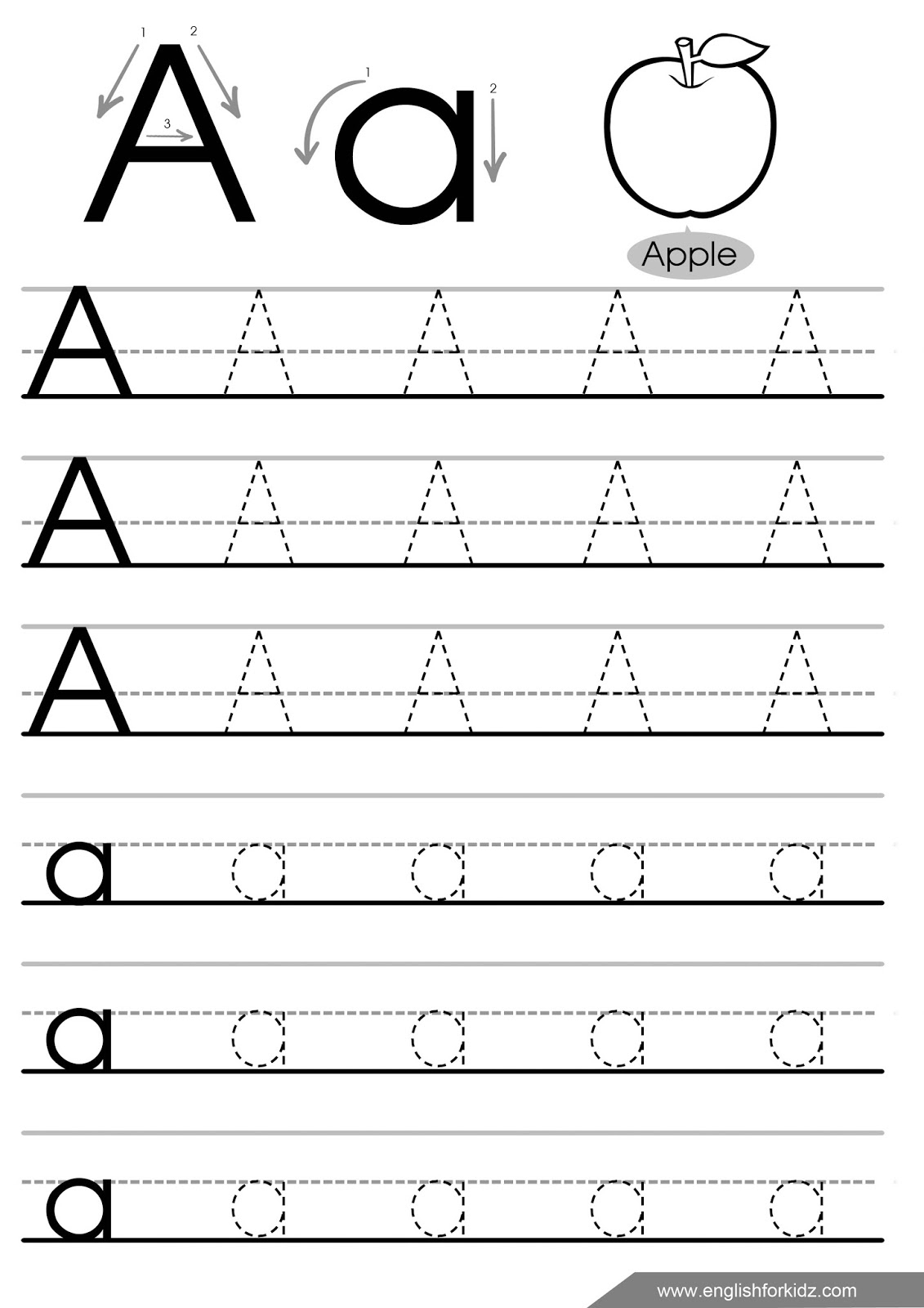 A Letter Tracing Worksheet