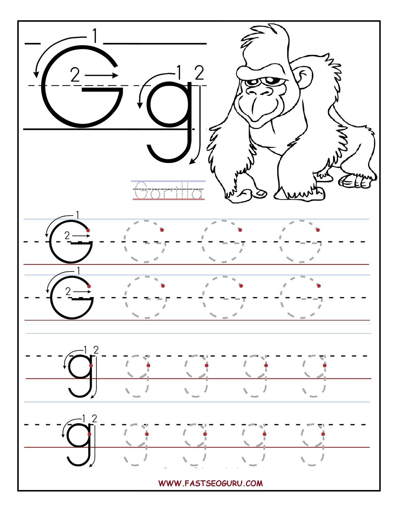 Letter G Tracing Preschool