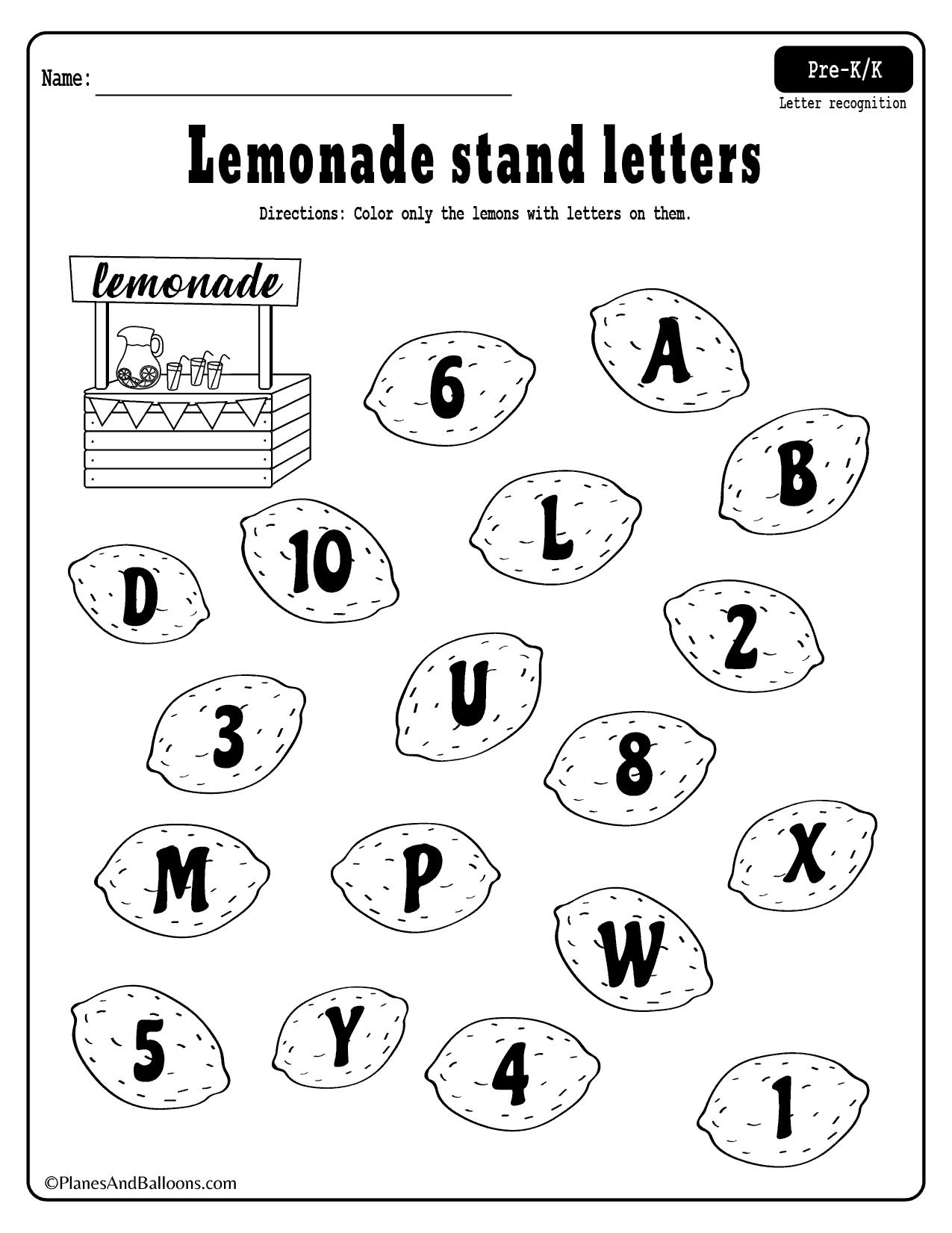 Pre K Alphabet Recognition Worksheets