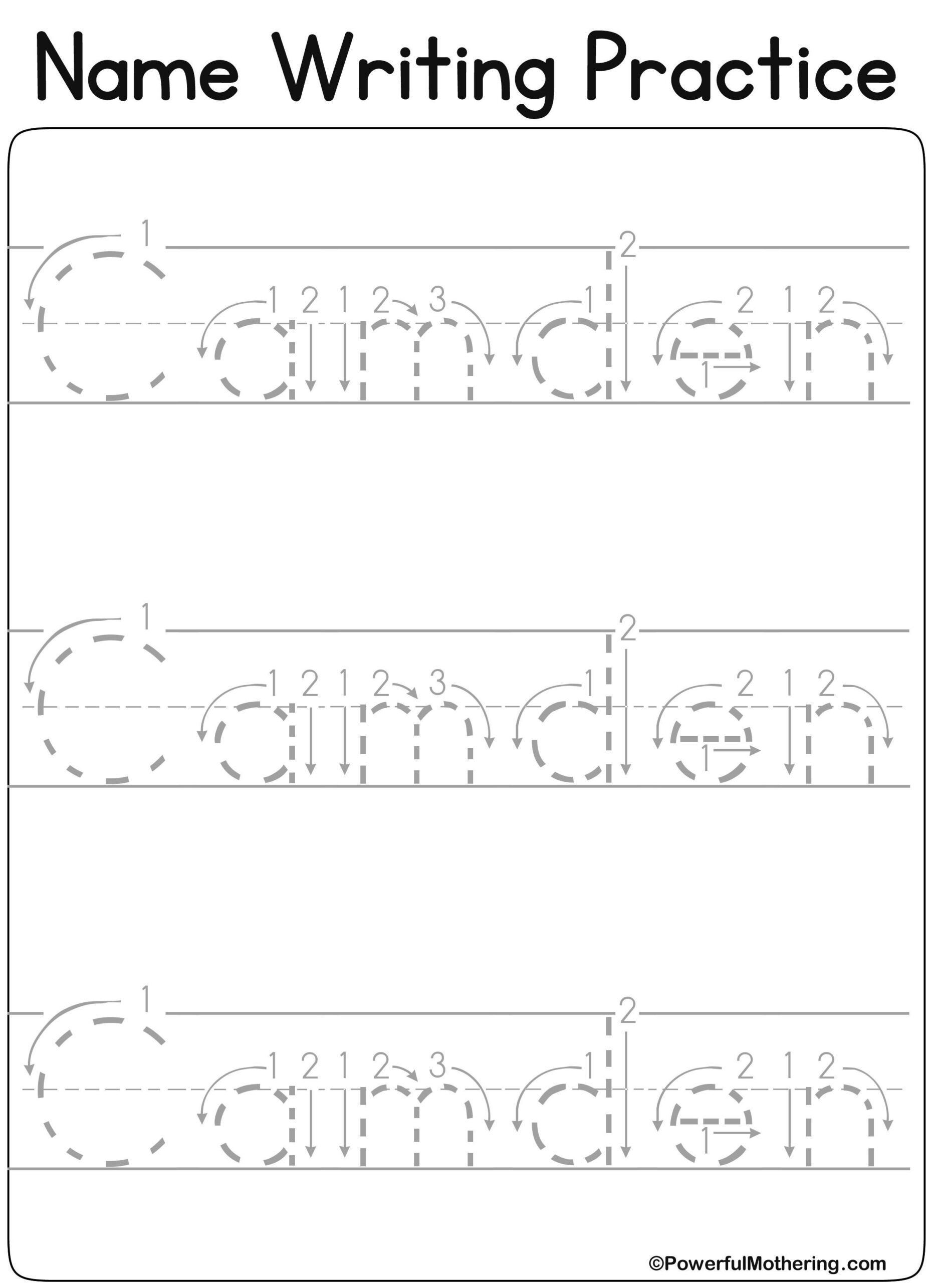 Name Tracing Worksheets Kindergarten