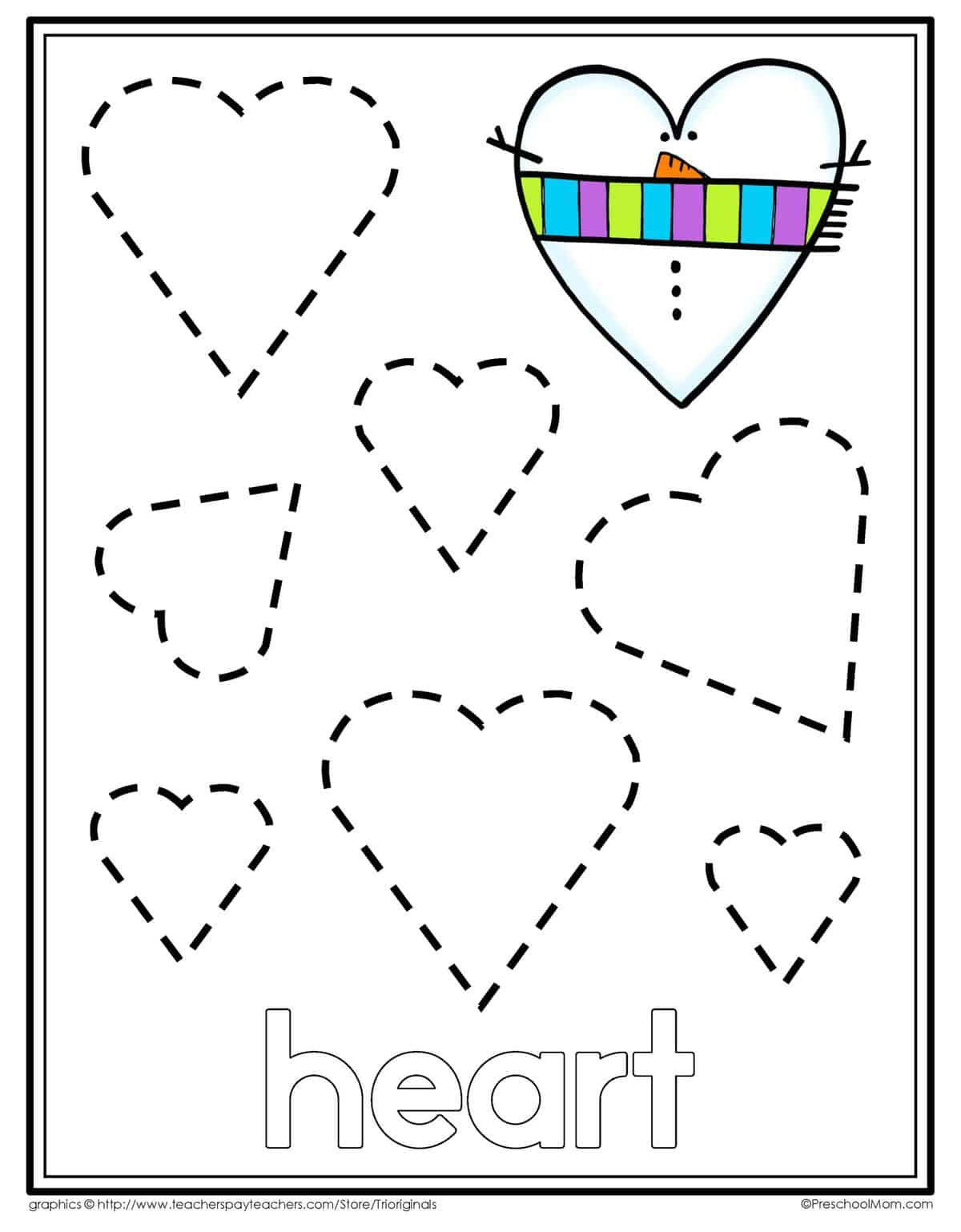 Heart Tracing Worksheets For Preschool