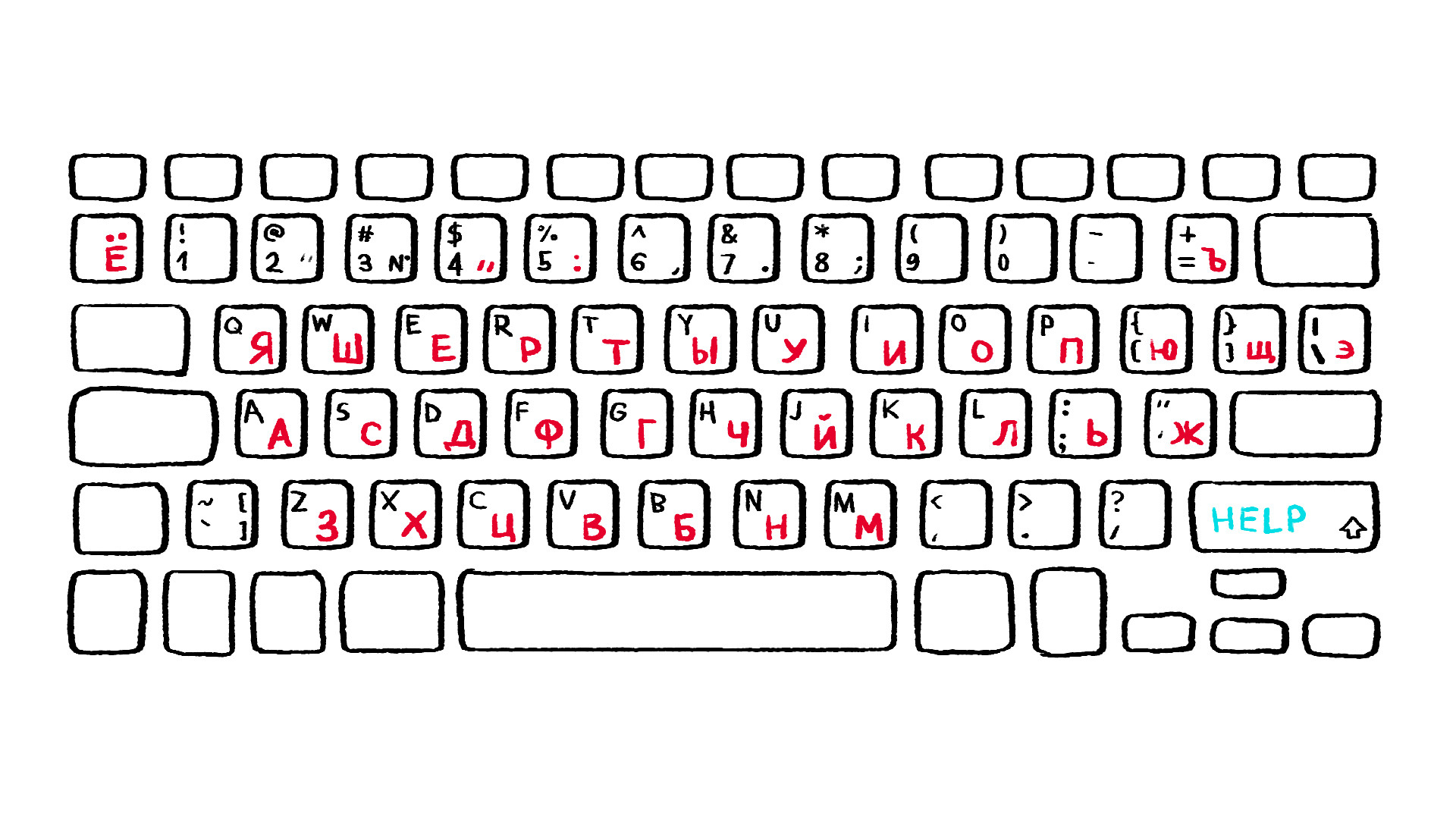 Russian Cursive Alphabet Keyboard