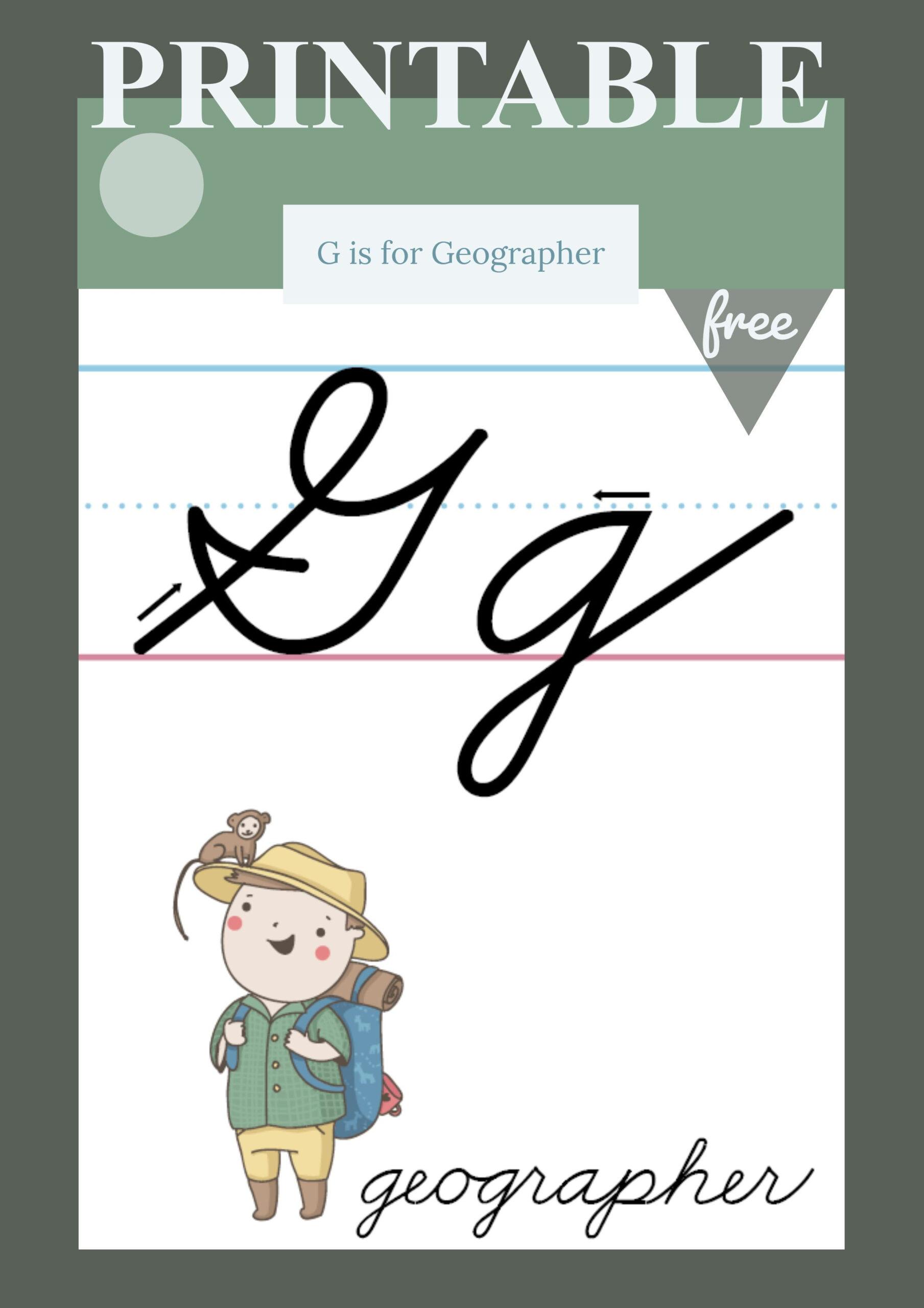 Cursive Alphabet G