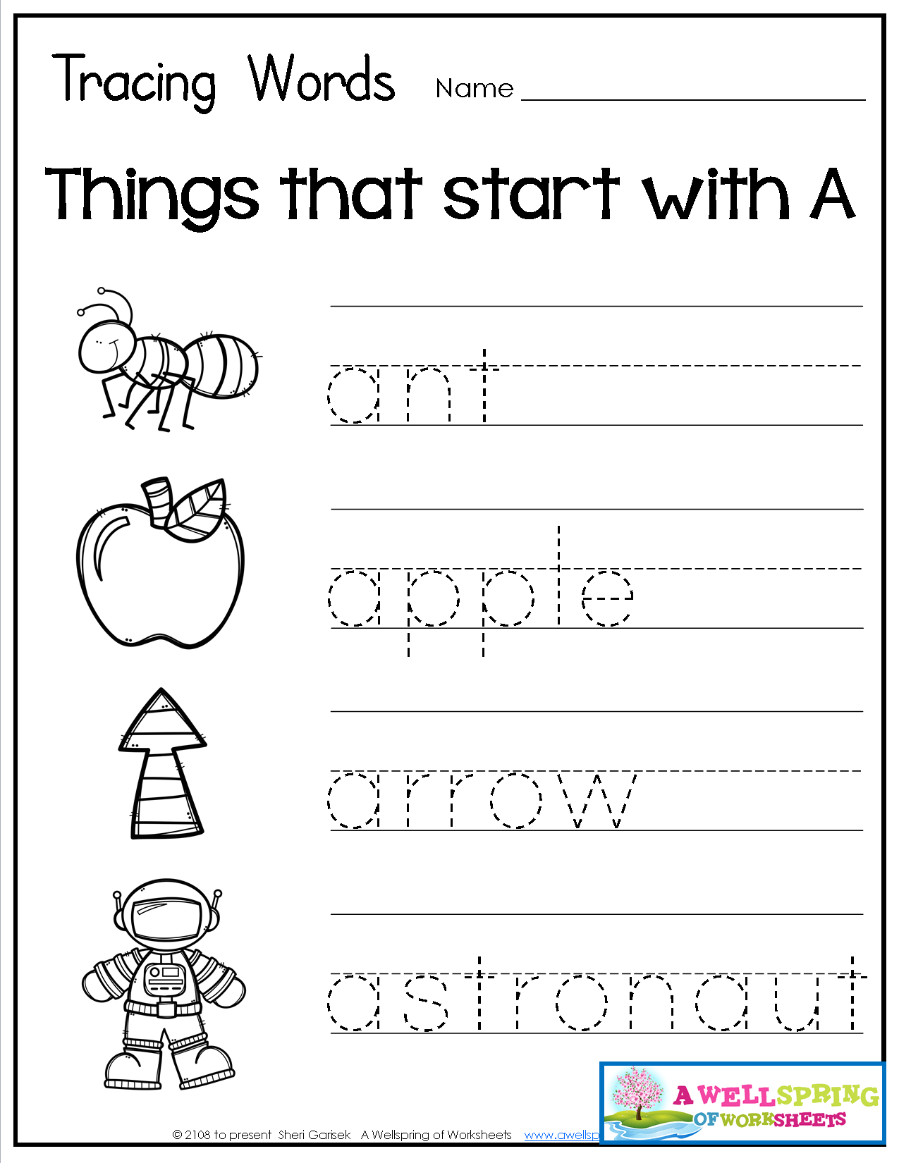 Alphabet Name Tracing Worksheets