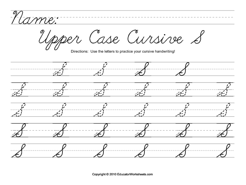 Cursive Uppercase Alphabet Worksheet