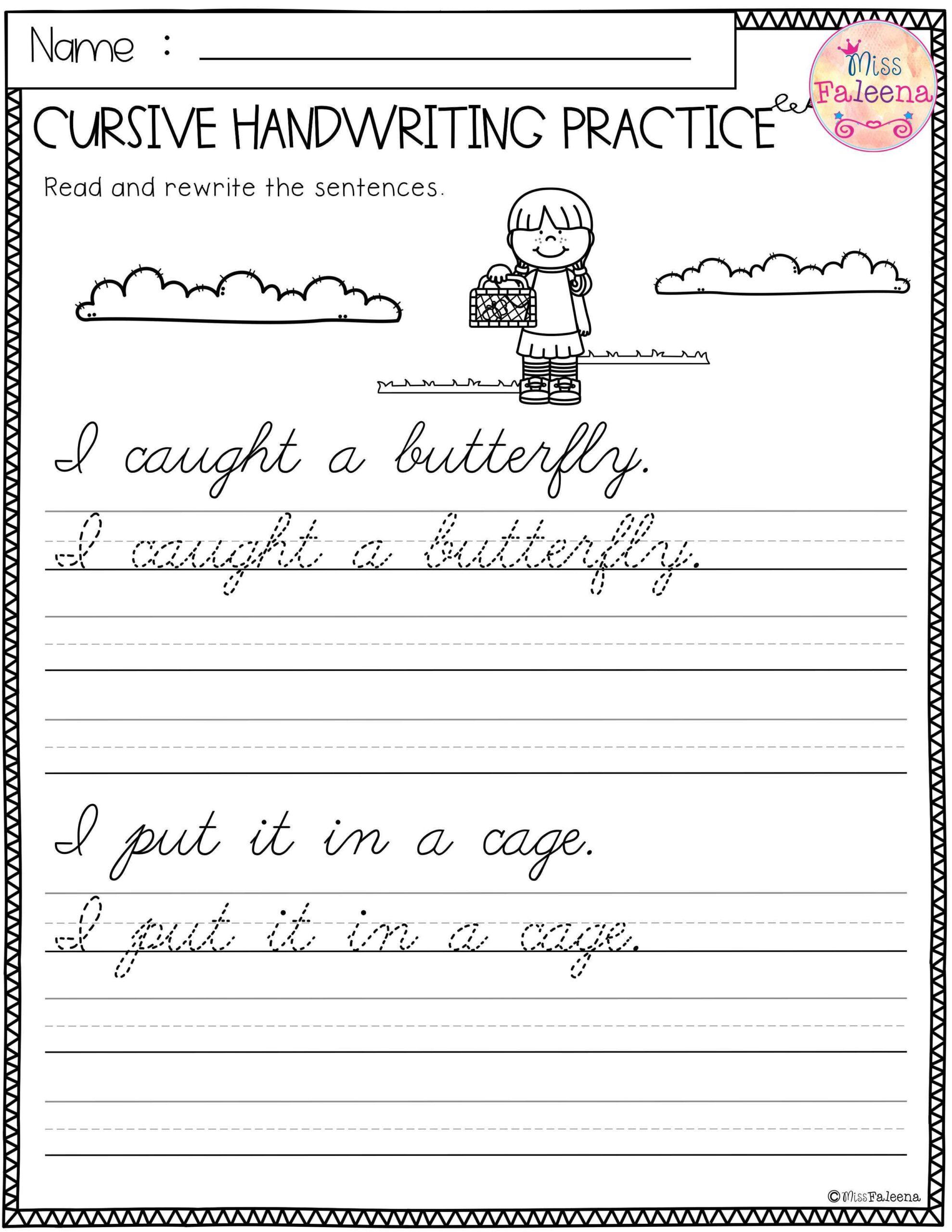 Cursive Alphabet For 3rd Grade
