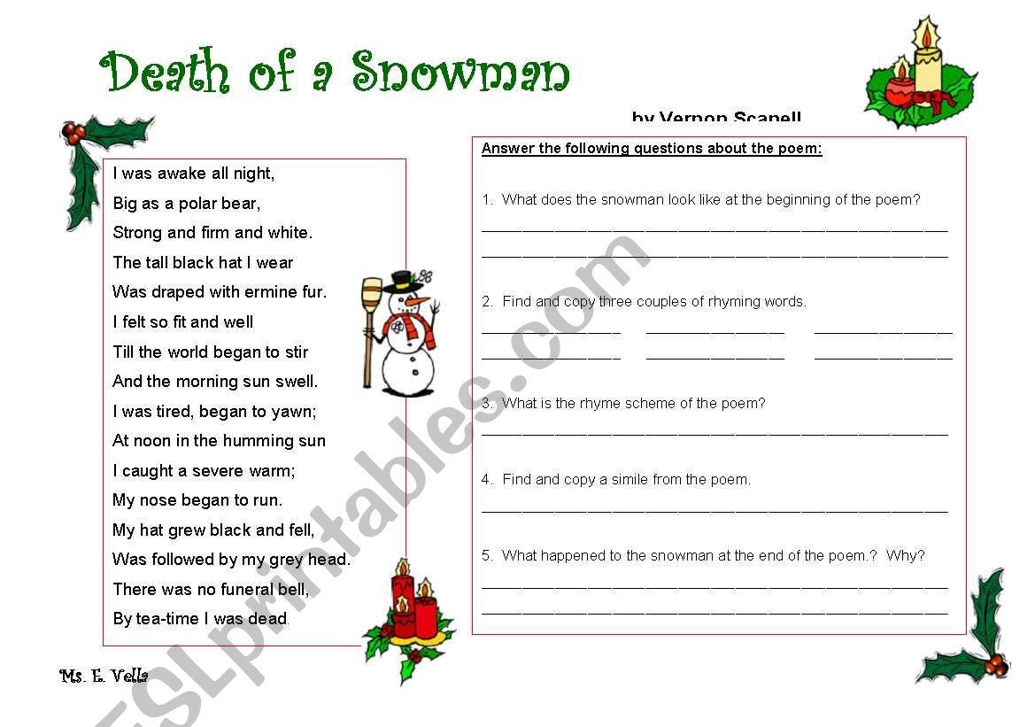 Christmas Poem Worksheet