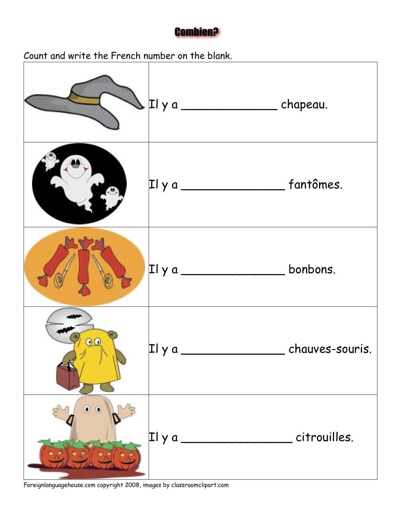 French Halloween Worksheets