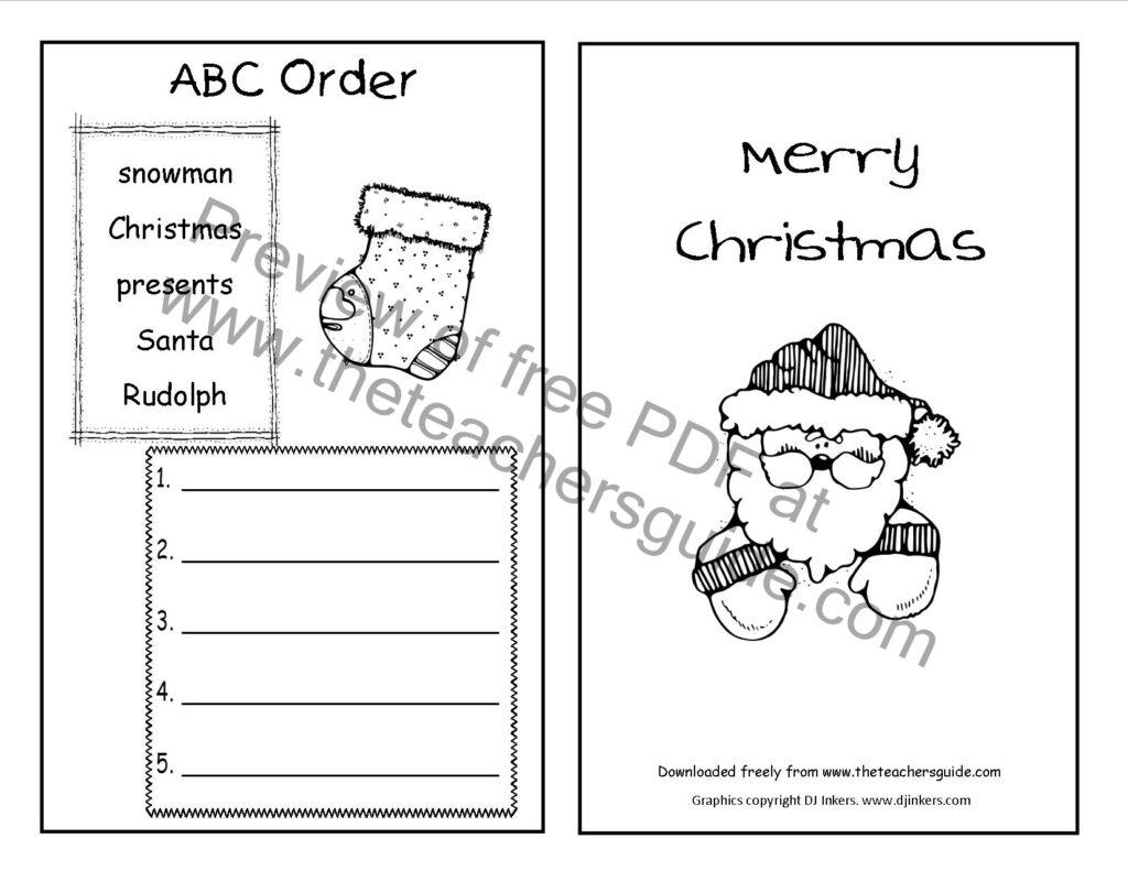 Christmas Abc Order Worksheets