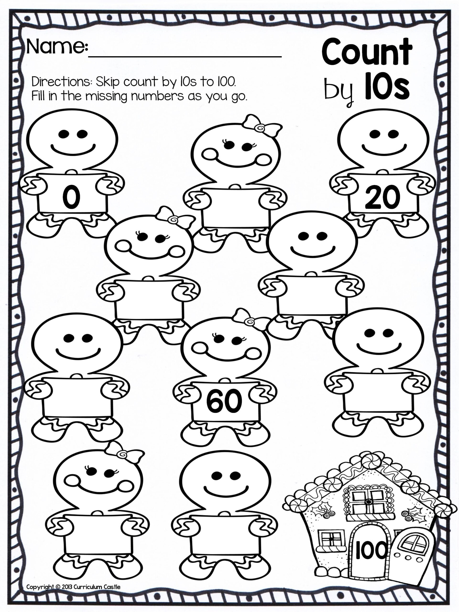 Christmas Counting Worksheets Kindergarten