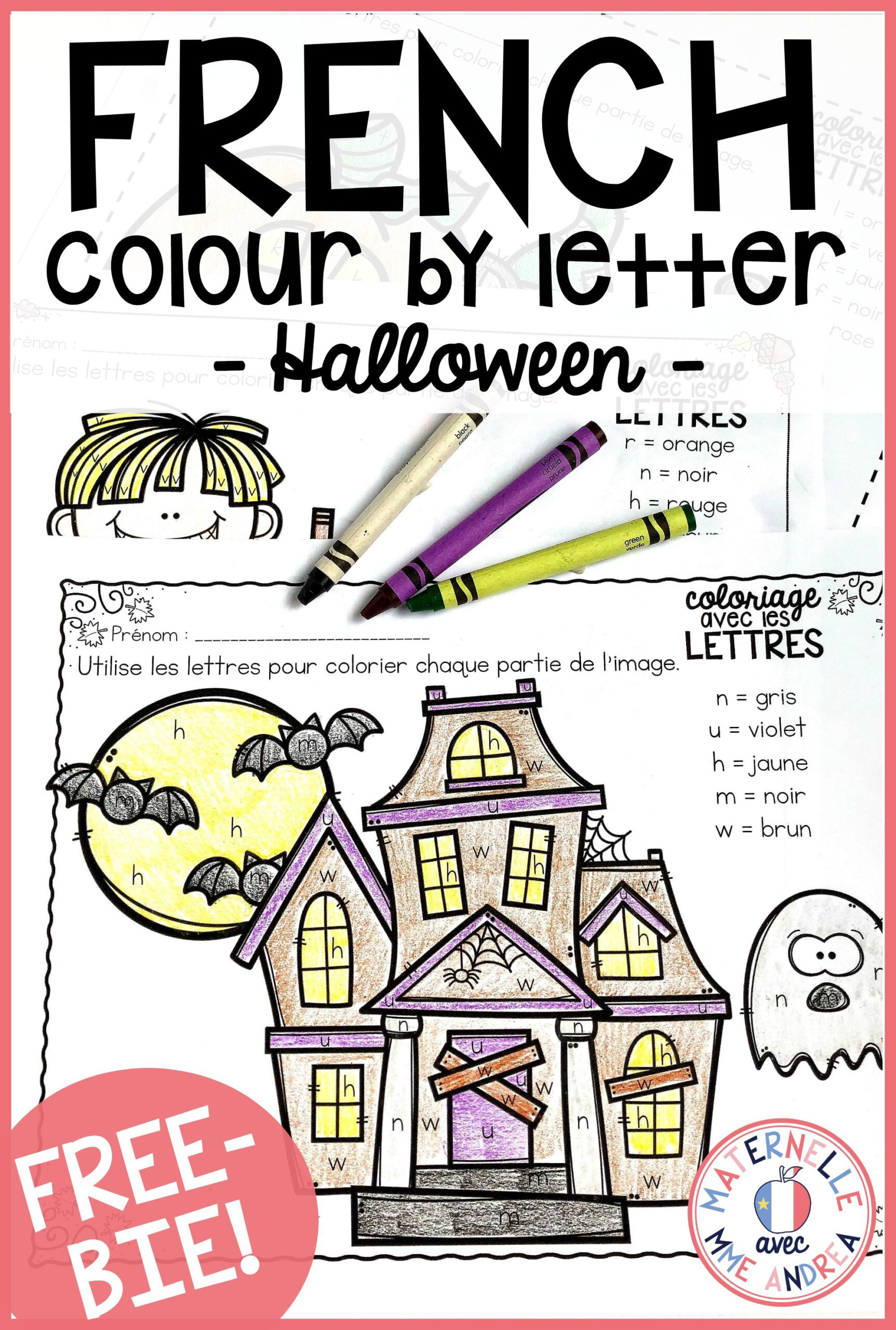 Printable French Halloween Worksheets
