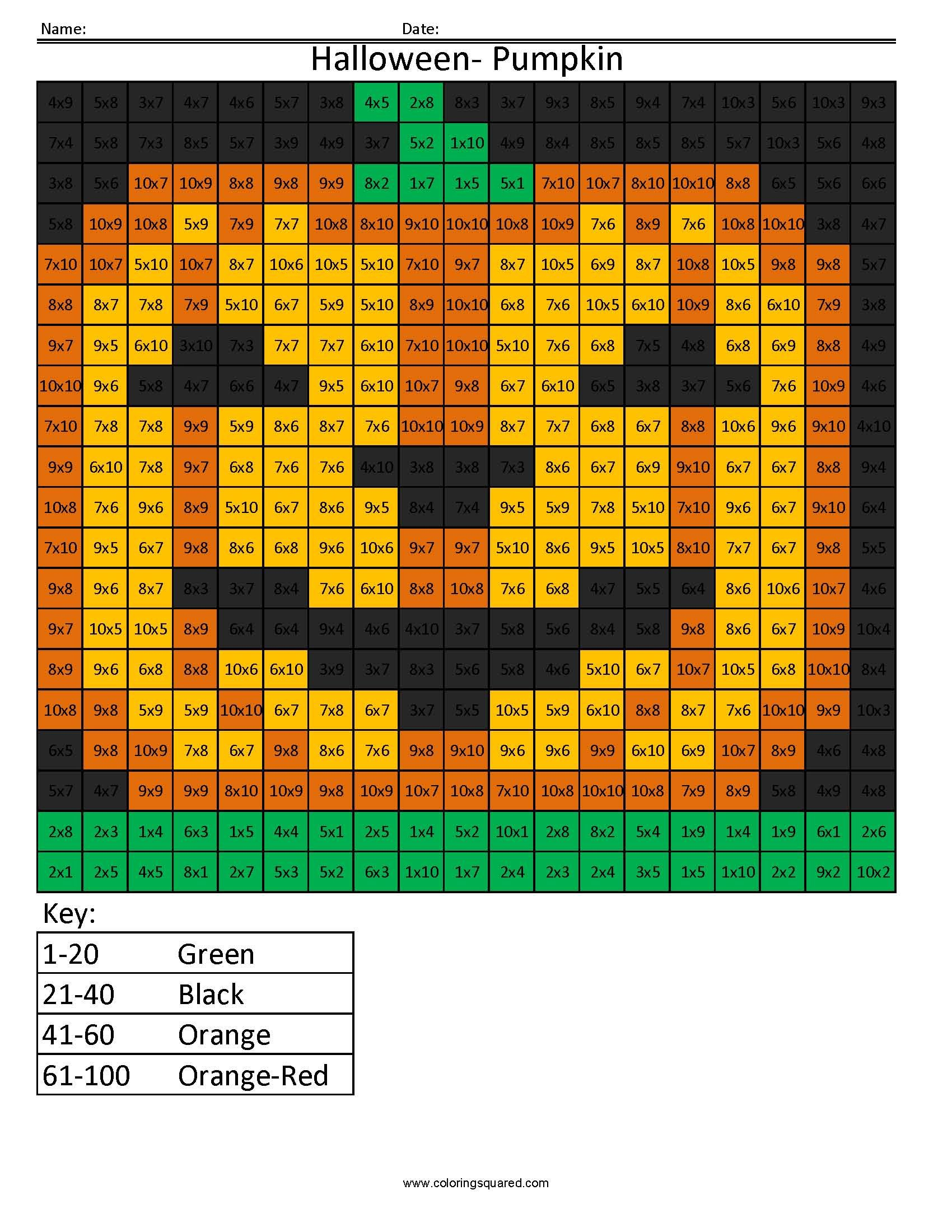 Halloween Math Multiplication Coloring Worksheets For 4th