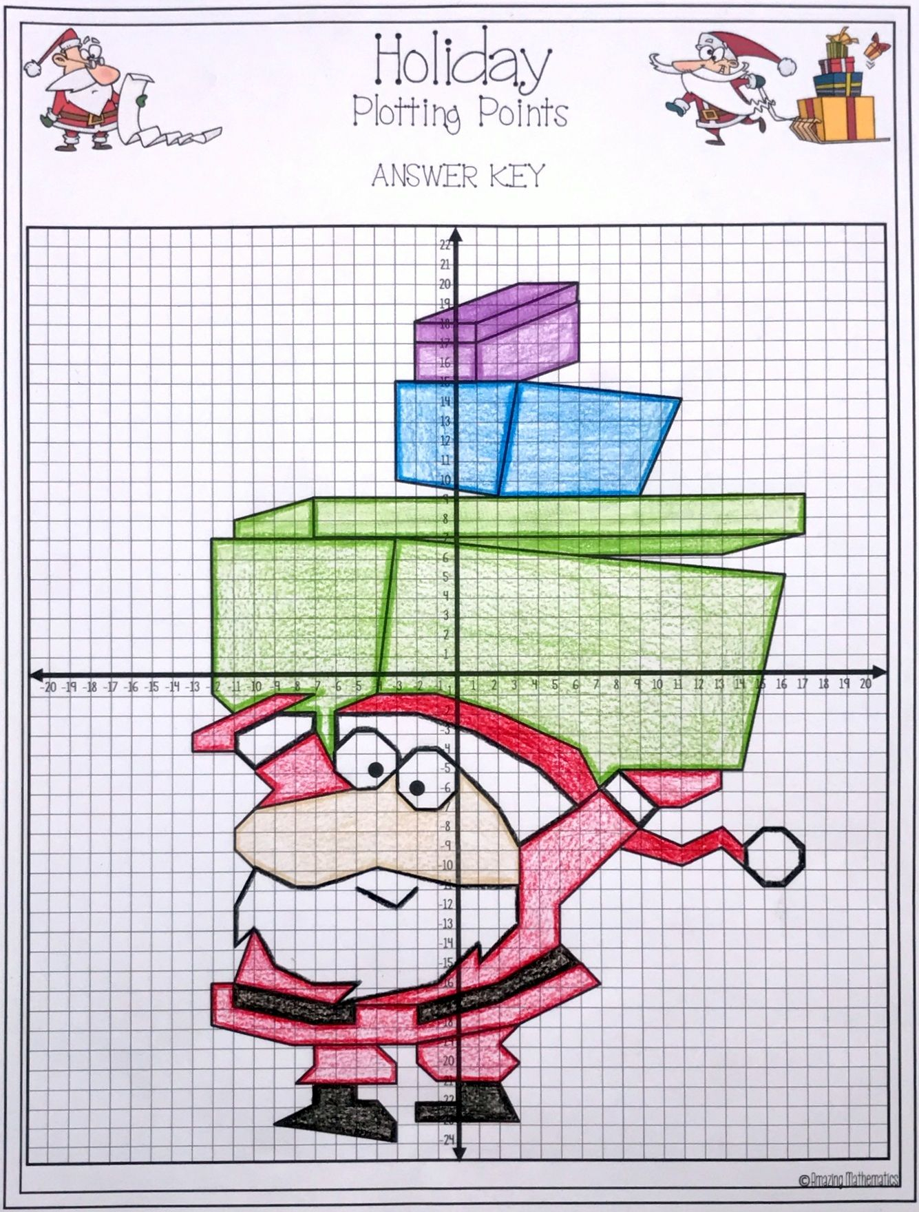 Graphing Ordered Pairs Christmas Worksheet