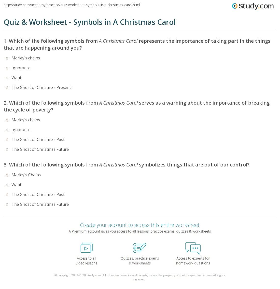 A Christmas Carol Symbols Worksheet