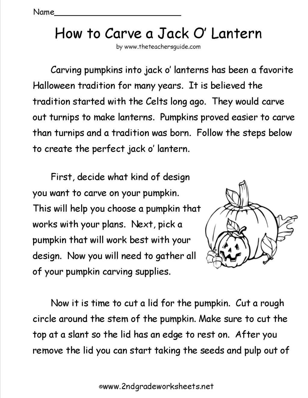 Halloween Worksheets For Grade 4