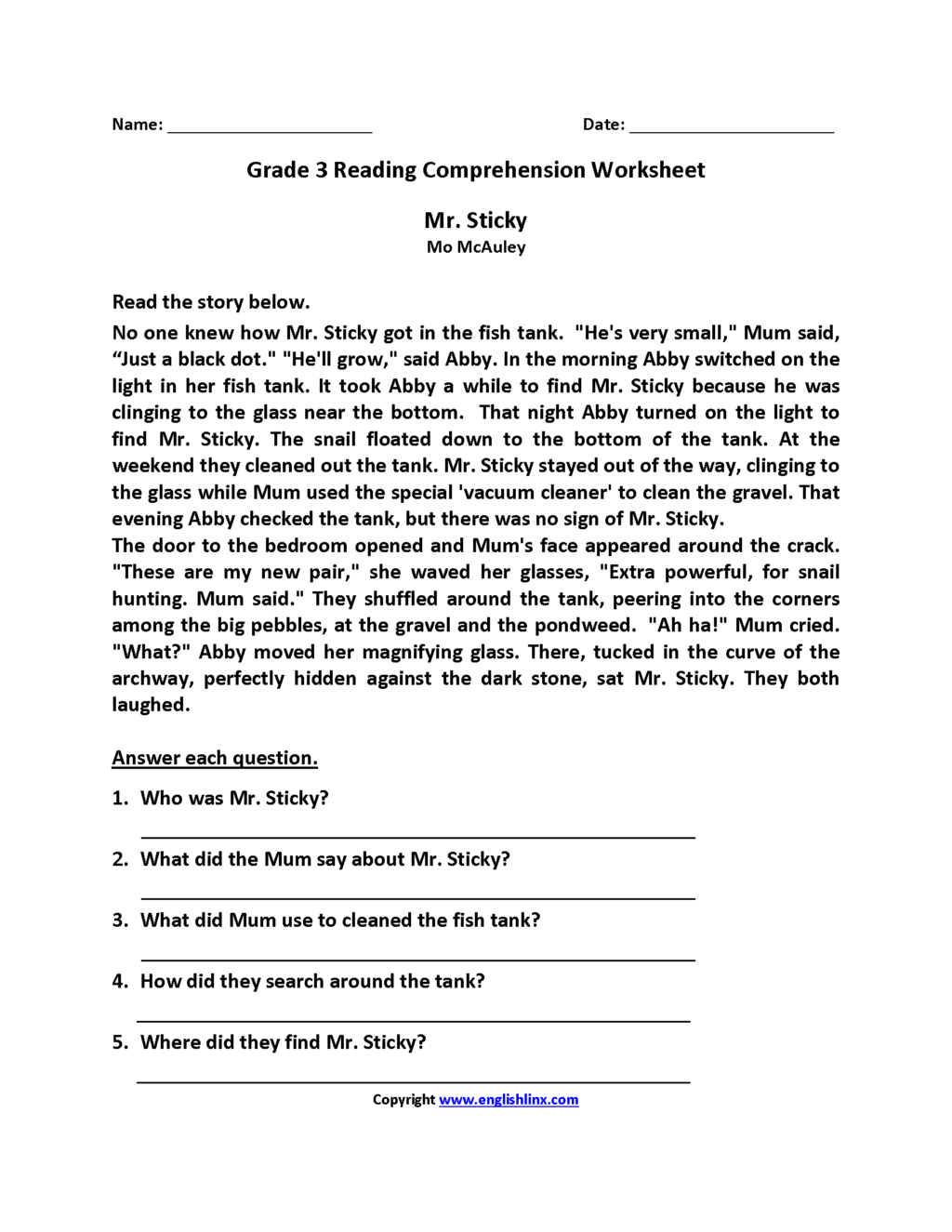3rd Grade Christmas Reading Comprehension Worksheets